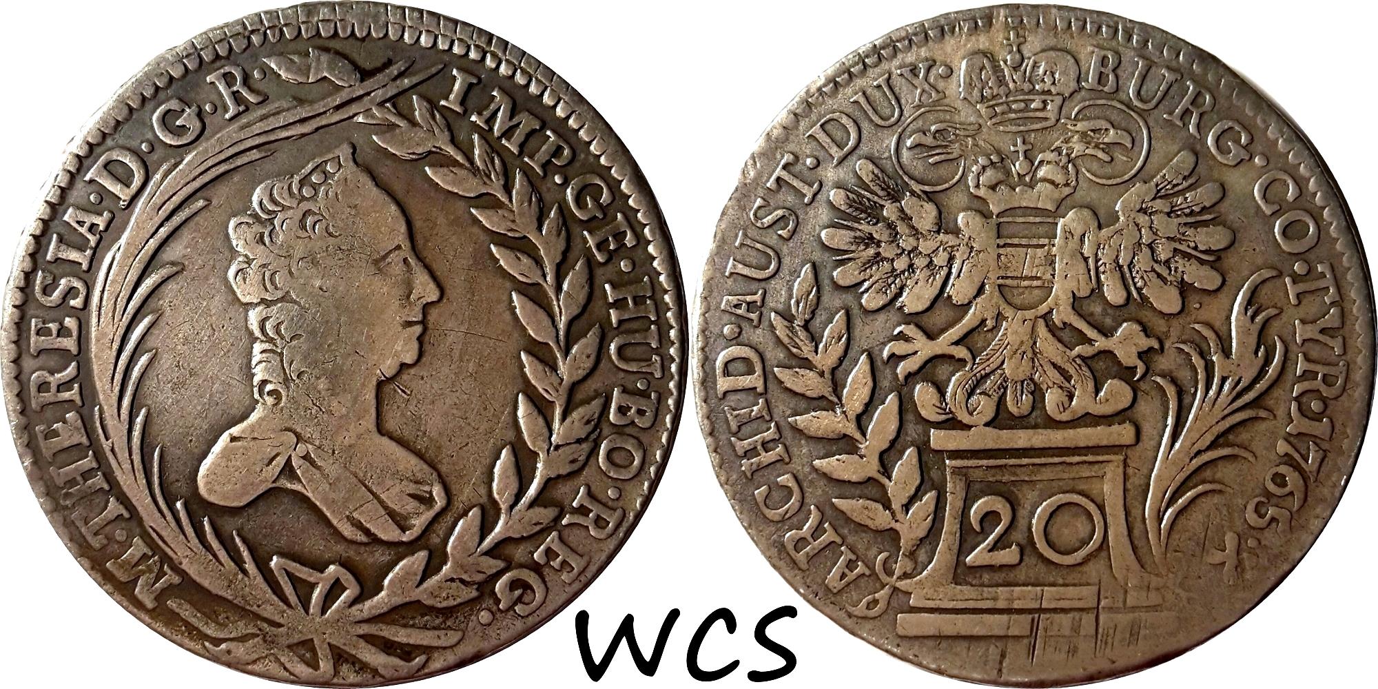 Austria 20 Kreuzer 1765 KM#1814 F