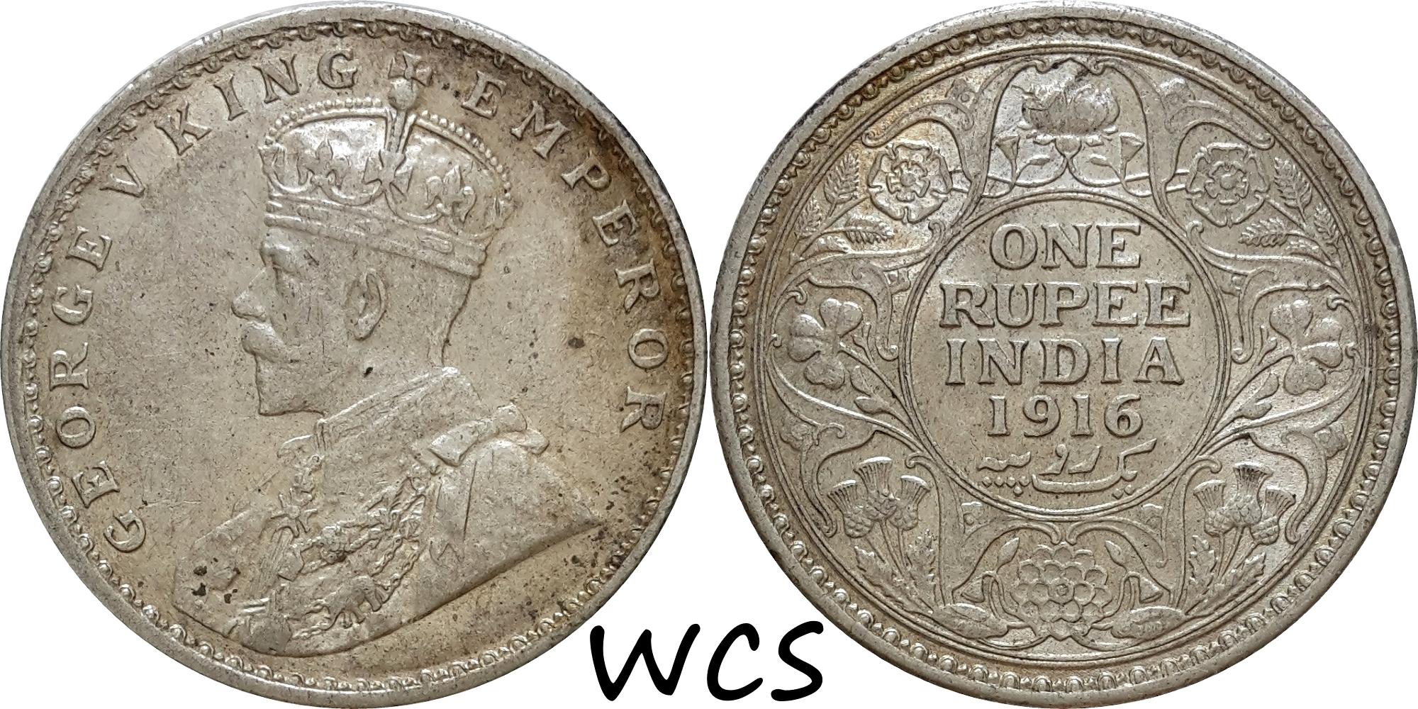 India-British 1 Rupee 1916