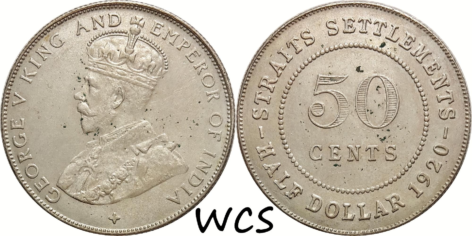 Straits Settlements 50 Cents 1920