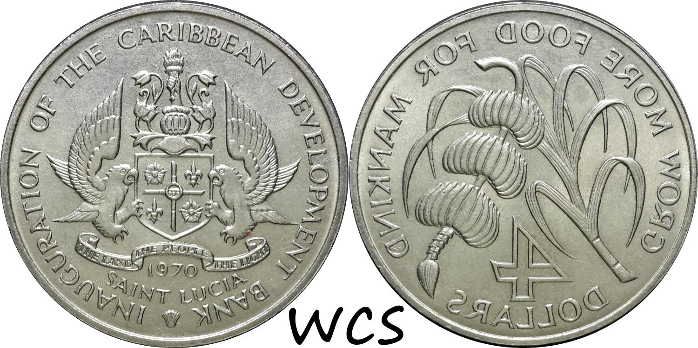 Saint Lucia 4 Dollars F.A.O. 1970