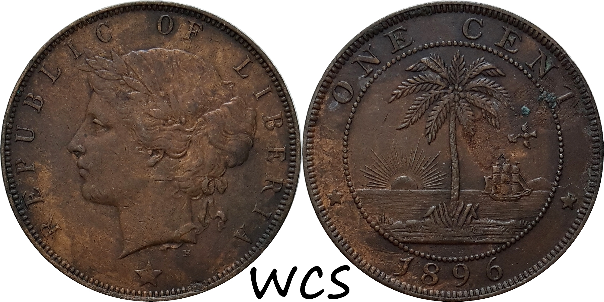 Liberia 1 Cent 1896 H