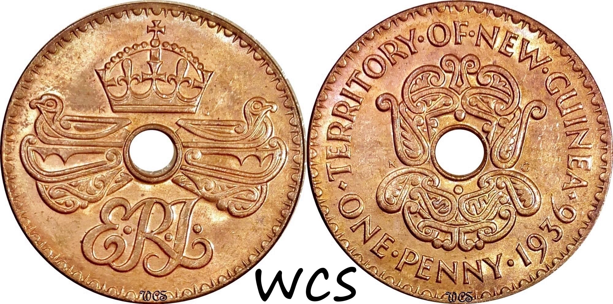 New Guinea 1 Penny 1936 KM#6 UNC