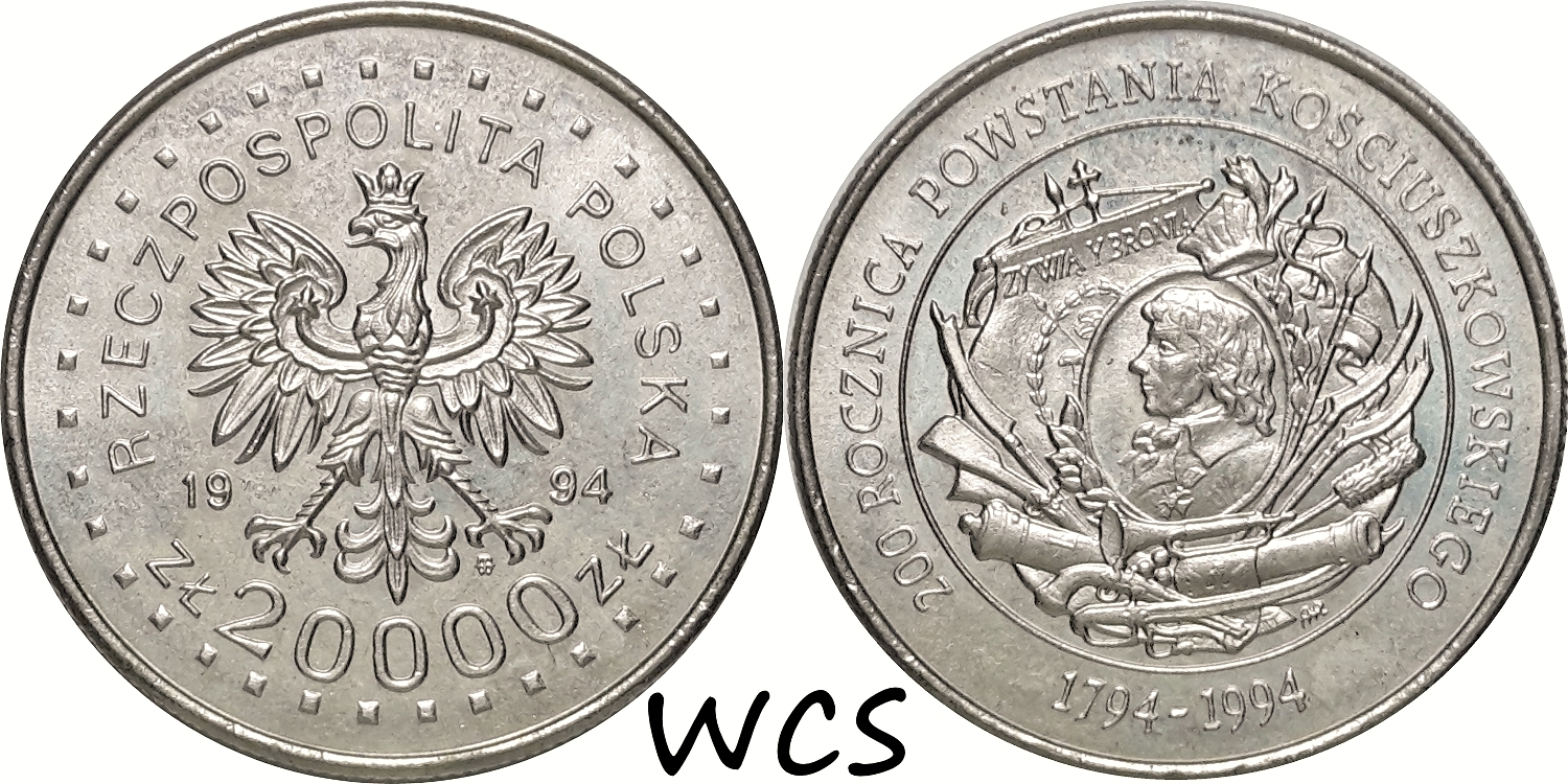 Poland 20000 Zlotych 1994 - 200th Anniversary - Kosciuszko Insurrection