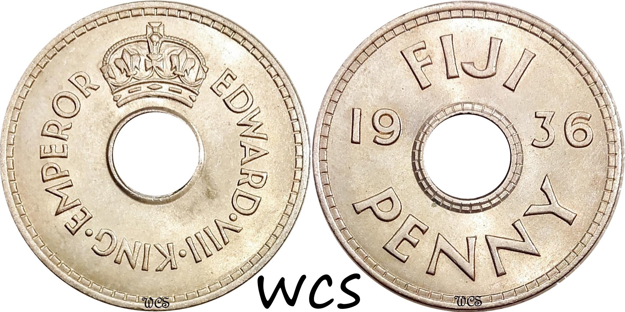 Fiji 1 Penny 1936 Edward VIII KM#6 UNC