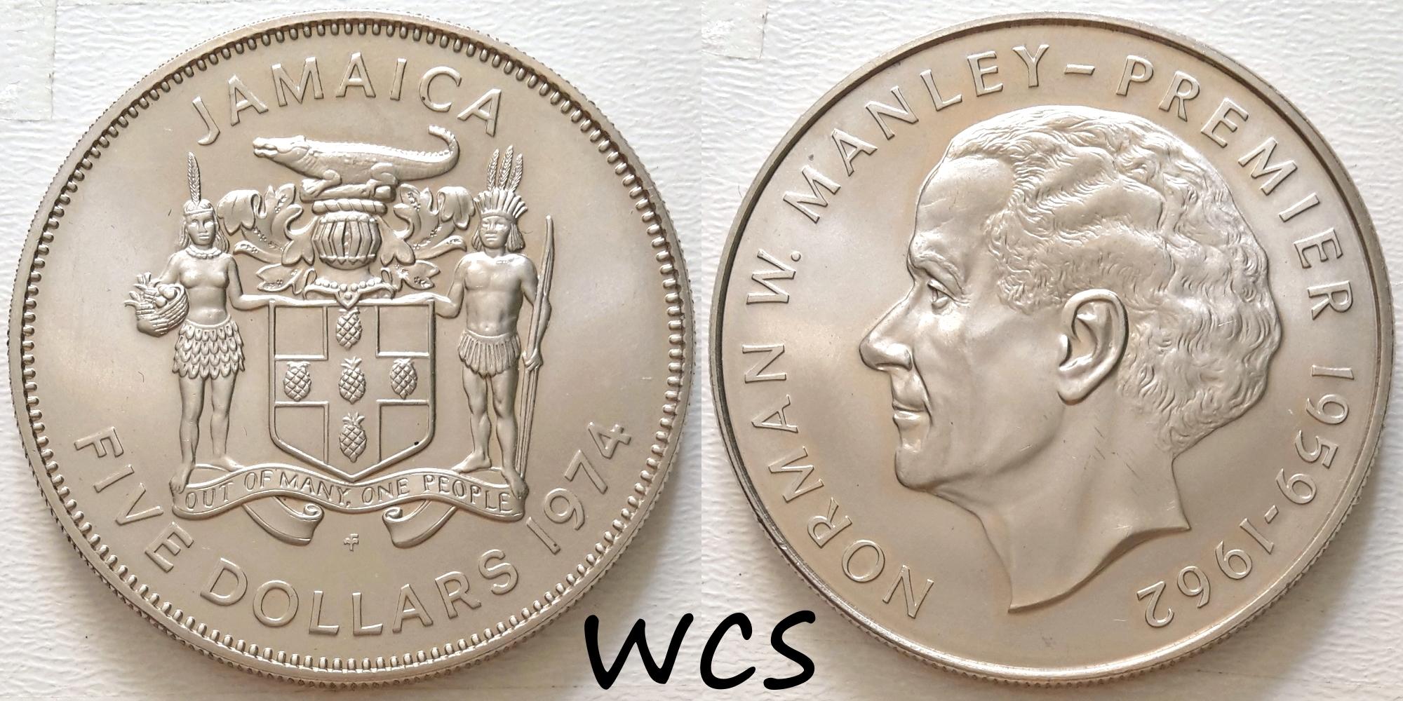 Jamaica 5 Dollars 1974