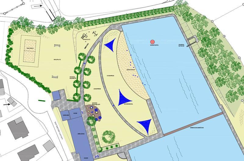 Projektskizze zur Neugestaltung eines großen Sandstrandes im Freibad in Müsen unmittelbar im Anschluss an die Wasserfläche