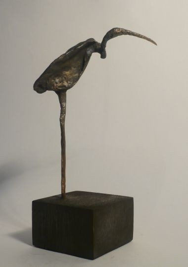 IBIS I - Bronze auf Holzsockel (bronze on wooden base), 19 x 9 x 6,5 cm, 2012