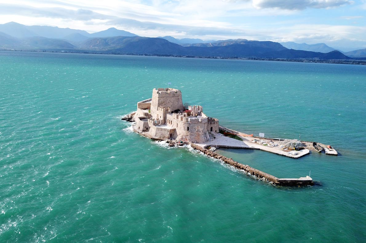 Best castles in Greece - Bourtzi Islet copyright  Aerial-motion  - European Best Destinations