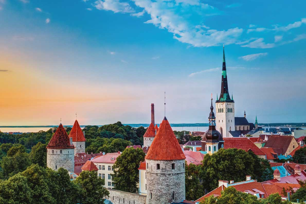 Best fortified destinations in Europe   - Sunset over Old City Town Tallinn In Estonia Copyright Grisha Bruev - European Best Destinations