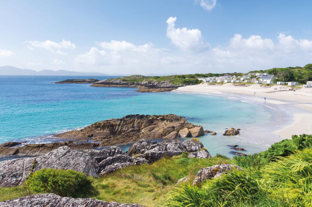 Best beaches in Europe - Beautiful white sand beach with camping site at Ring of Kerry a famous coastal route in Ireland Europe- Copyright Michael Thaler - European Best Destinations