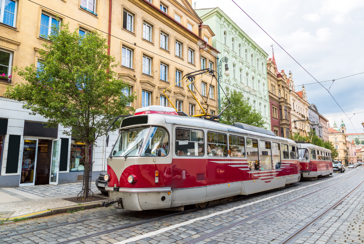 Best trams in Europe - Tram at old street in Prague, Czech Republic in a summer day Copyright S-F - European Best Destinations