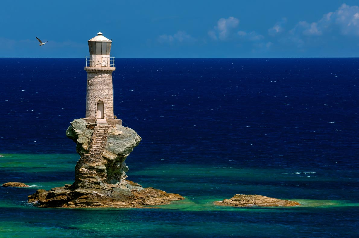 Best natural wonders in Greece - Lighthouse Tourlitis of Chora in Andros island Copyright Lemonakis Antonis    - European Best Destinations