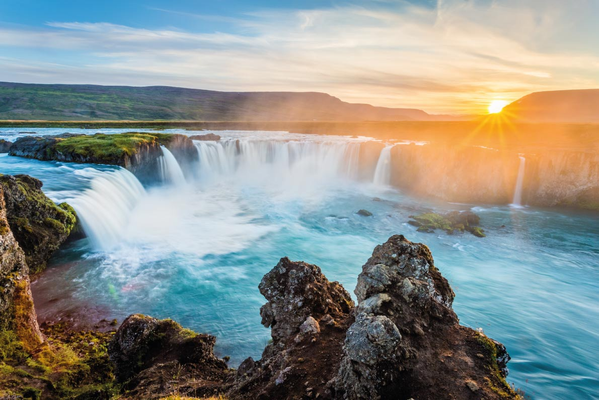 Best landscapes in Europe - Godafoss waterfall at sunset, Iceland, Europe Copyright ronnybas