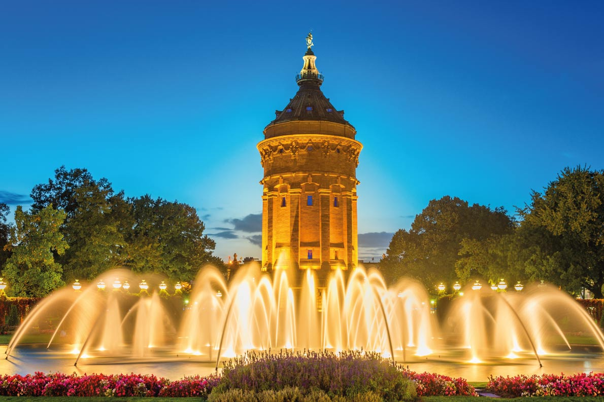 Best fountains in Europe - Mannheim Water Tower Germany, with smooth fountain waves in the foreground Copyright Tichr