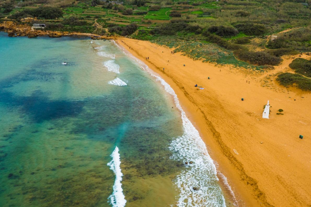 Safest beaches in Europe - Ramla bay Gozo Island - Malta