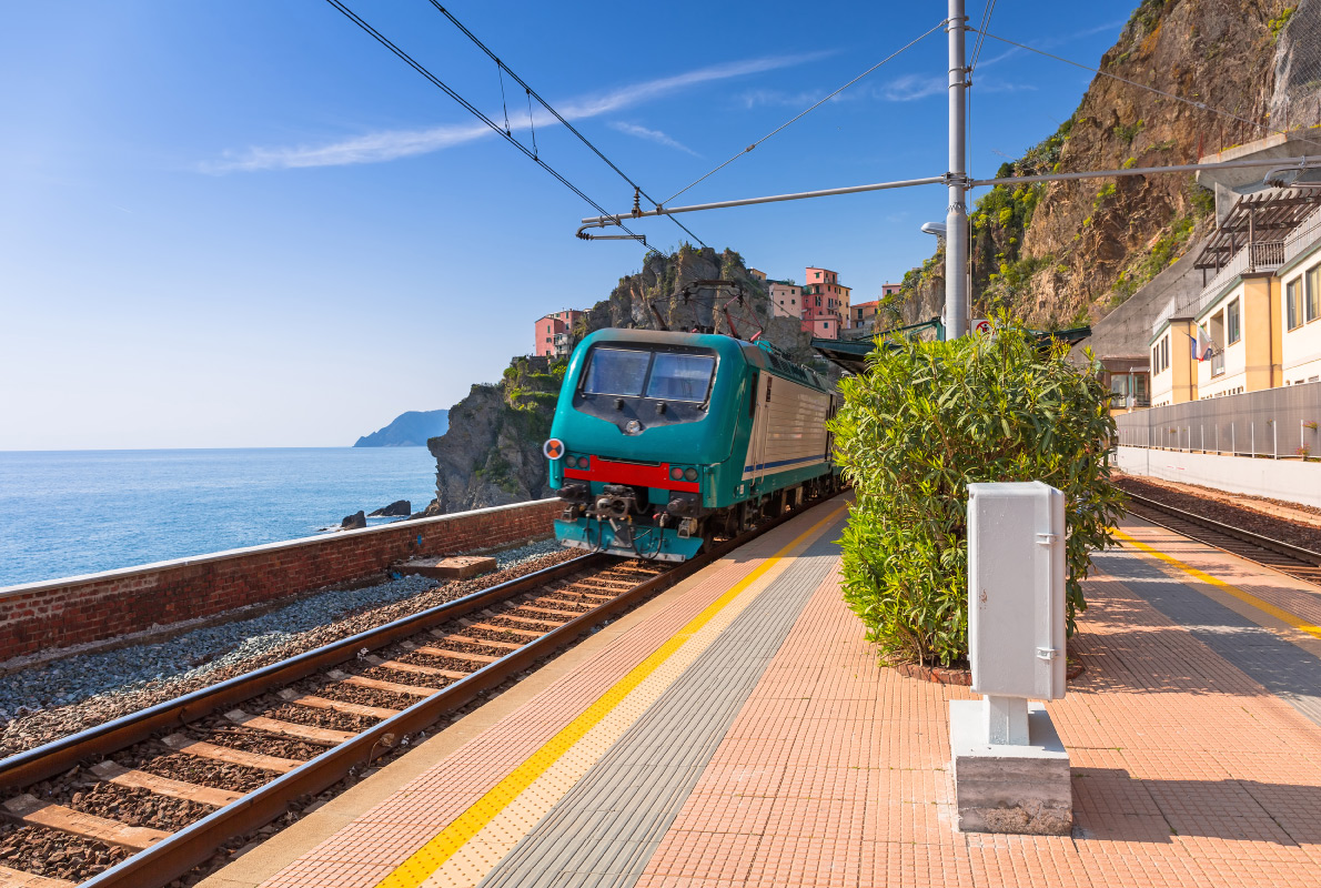Best destinations to visit by train - Train station at Cinque Terre National Park, Manarola in Italy. Copyright c - European Best Destinations