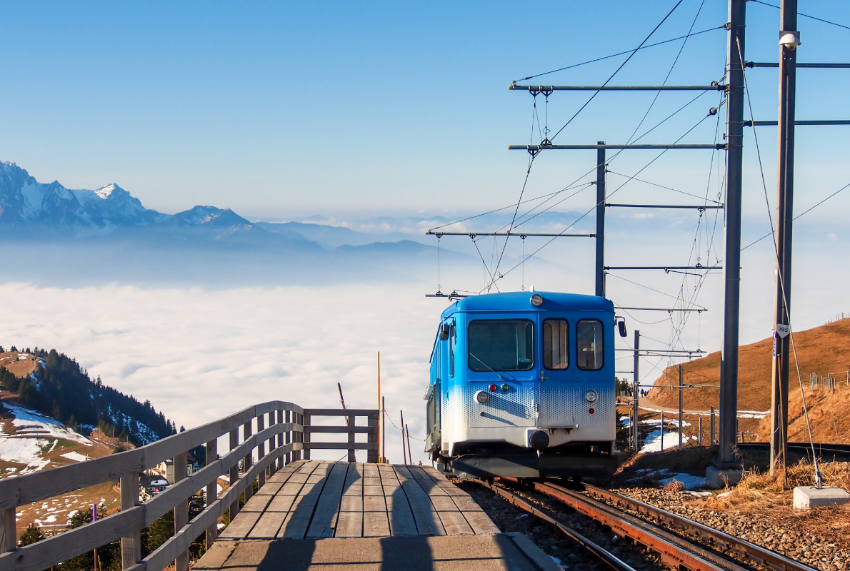 Best destinations to visit by train - train to the top of mountain Rigi in Luzern, Switzerland Copyright nui7711  - European Best Destinations