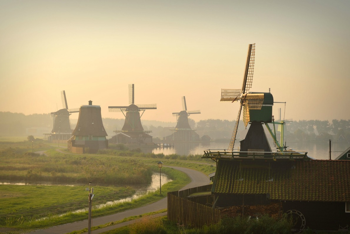 Best landscapes in Europe - Zaanse Schans Windwills - Copyright Olena Z