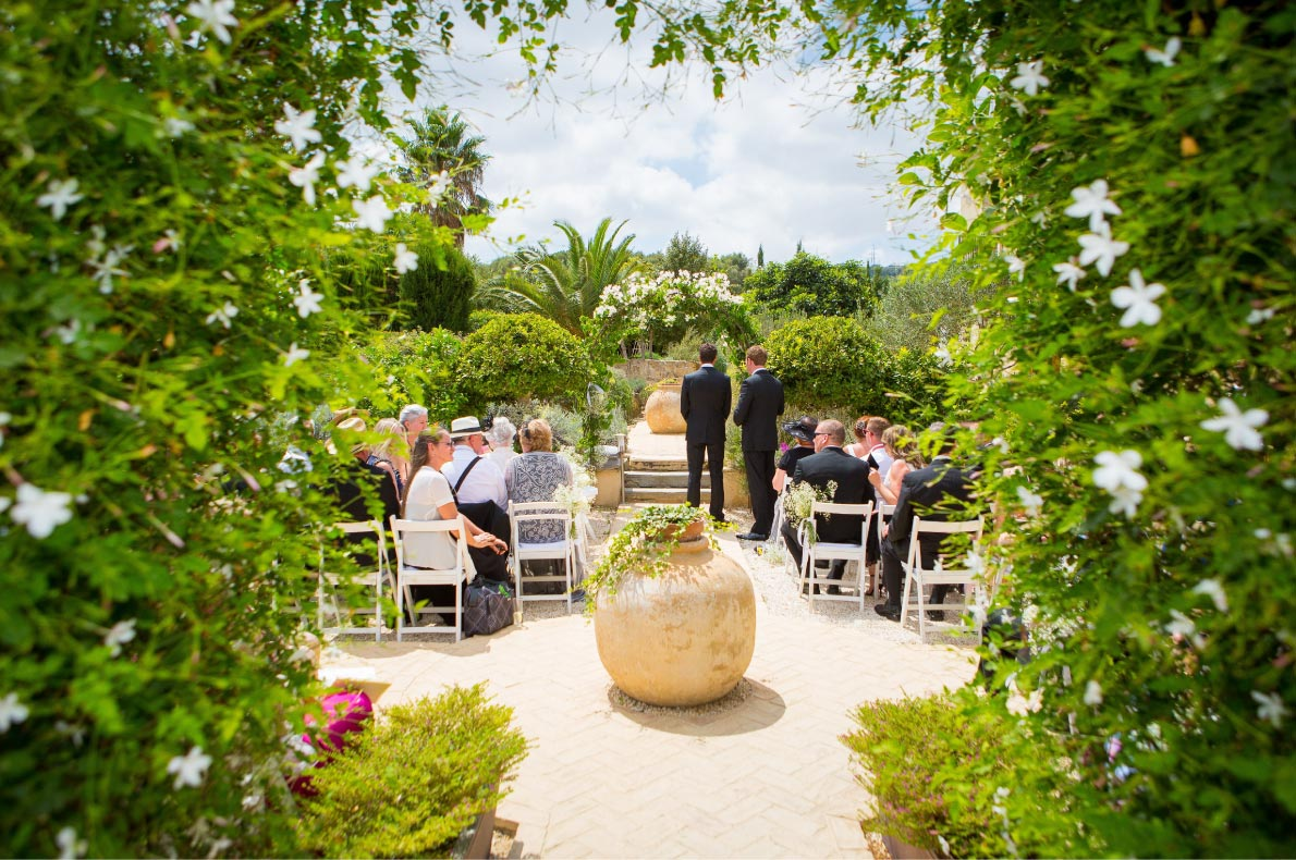Best wedding venues in Europe - Casa La Siesta Spain Ceremony-with-guests-Stephanie_Darryl  - European Best Destinations