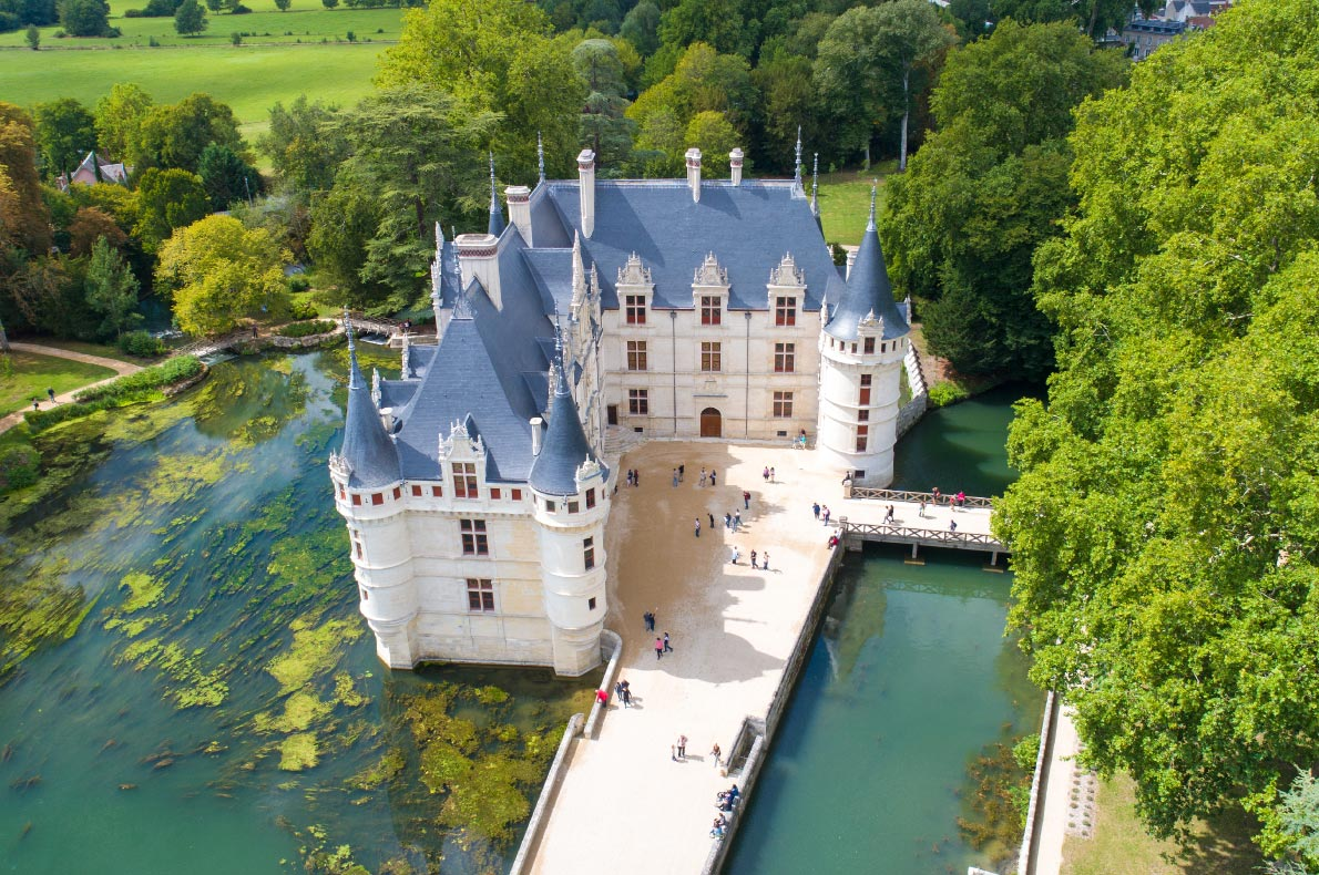 Best Castles in France - Azay-Le-Rideau Castle Copyright  Altitude Drone  - European Best Destinations