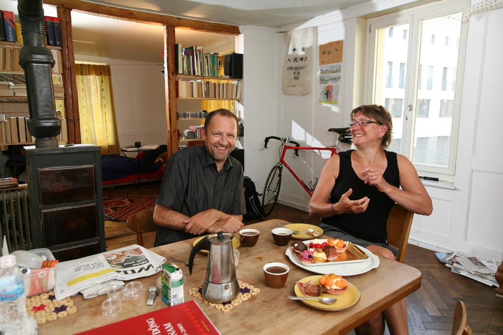 Christoph Hugenschmidt und Agnes Hofmann, Kleinunternehmer und HR-Managerin, Zürich, seit 1985. | Christoph Hugenschmidt kisvállalkozó és Agnes Hofmann HR-menedzser, Zürich, 1985-óta.