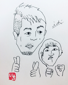沖縄北谷 筆文字 似顔絵 いち