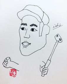 沖縄北谷 筆文字 似顔絵