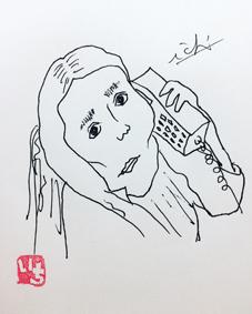 沖縄 筆文字 似顔絵