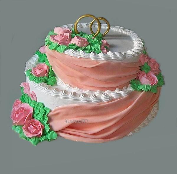 Свадебный торт с кольцами и драпировками из сахарной мастики, 5 кг