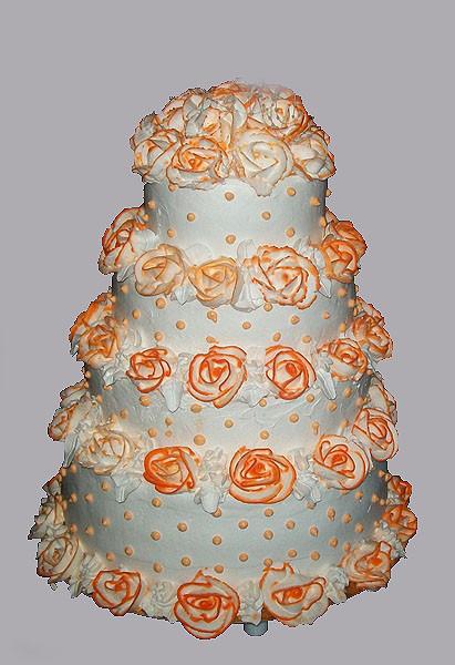 Четырехъярусный  кремовый торт, 10 кг