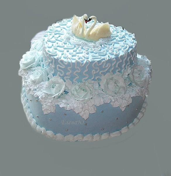 Голубой кремовый торт с лебедями, 4 кг