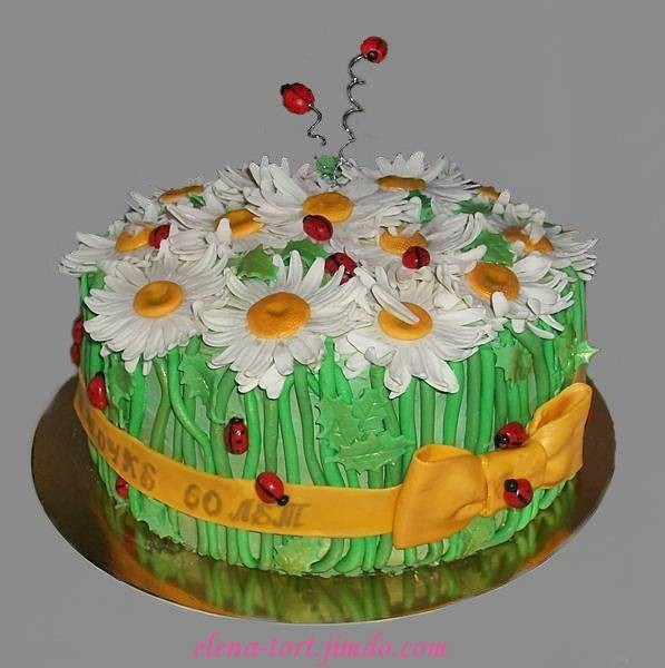 "Торт на юбилей с ромашками, вес 2,8 кг, внутри ""Ночи Нью-йорка"""