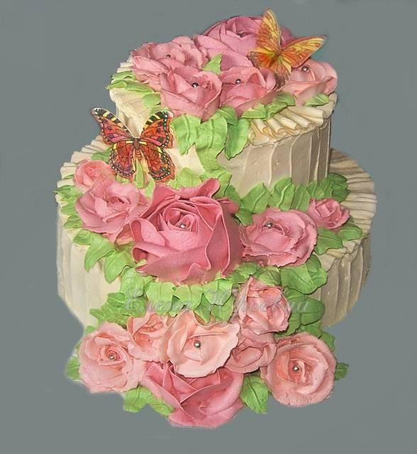 Торт юбилейный, вес 3 кг, шоколадные бисквиты и персики, растительные сливки