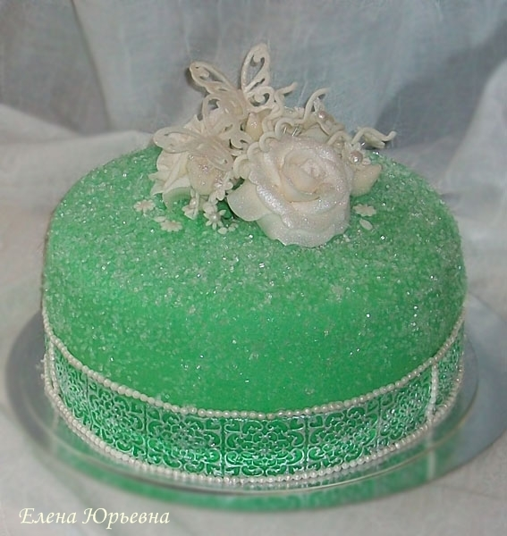 "Торт на юбилей с бабочками и розами, 3 кг, внутри ""Калифорнийская лилия"""