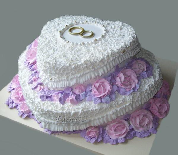 Двухярусный кремовый  торт, 5 кг