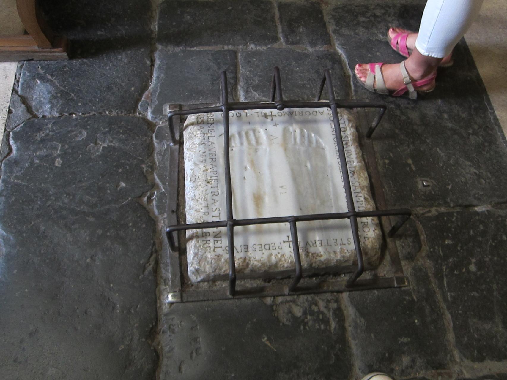 サンセバスチアーノに本物があるイエスの足跡です