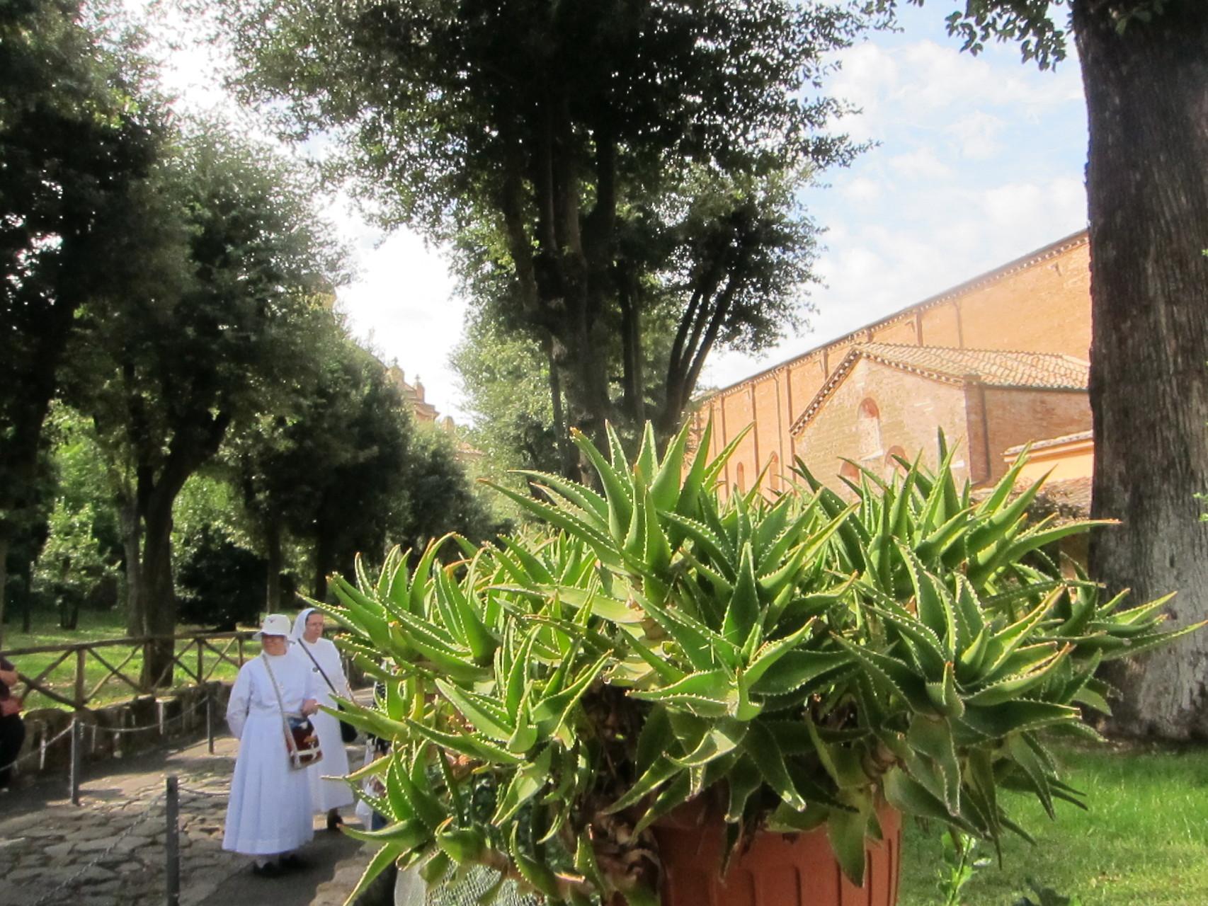 隣は高い塀に囲まれたトラピスチヌ修道会