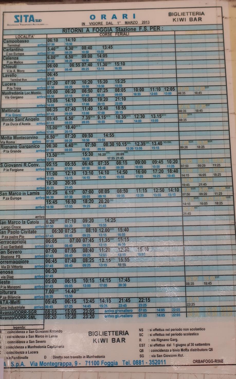 BARの前にしか時刻表はありません!!それも2013年から変わってない?