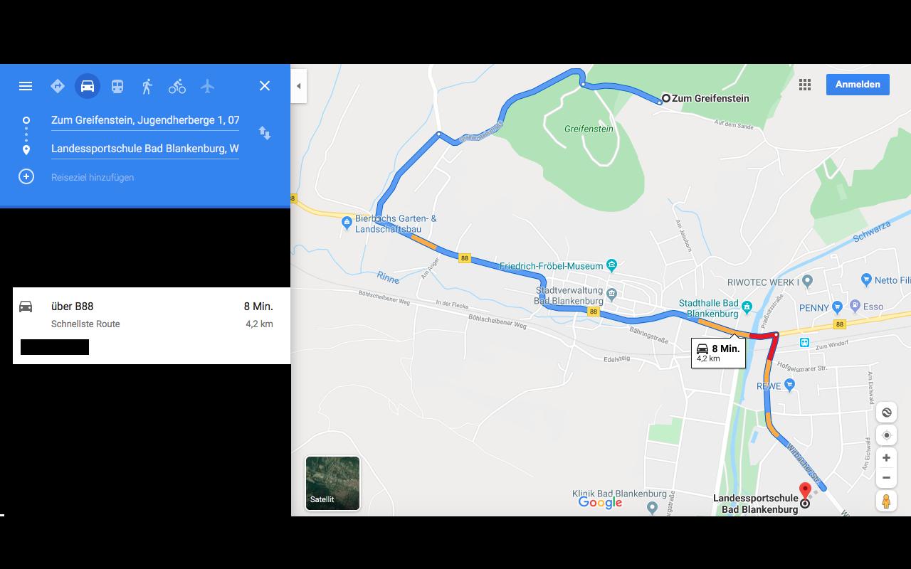 """""""Zum Greifenstein"""" nach Landessportschule Fahrtweg"""