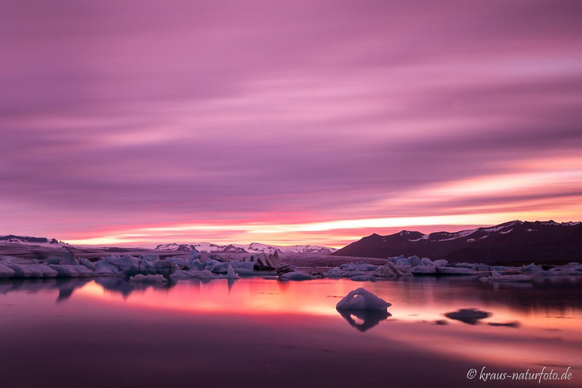 Gletscherlagune Jökulsarlon, Langzeitbelichtung