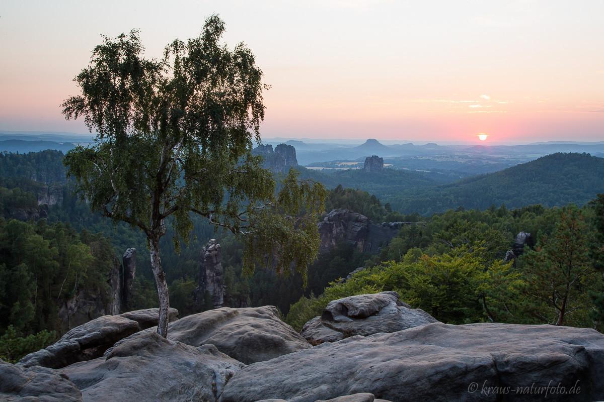 Sonnenuntergang auf dem Carolafelsen