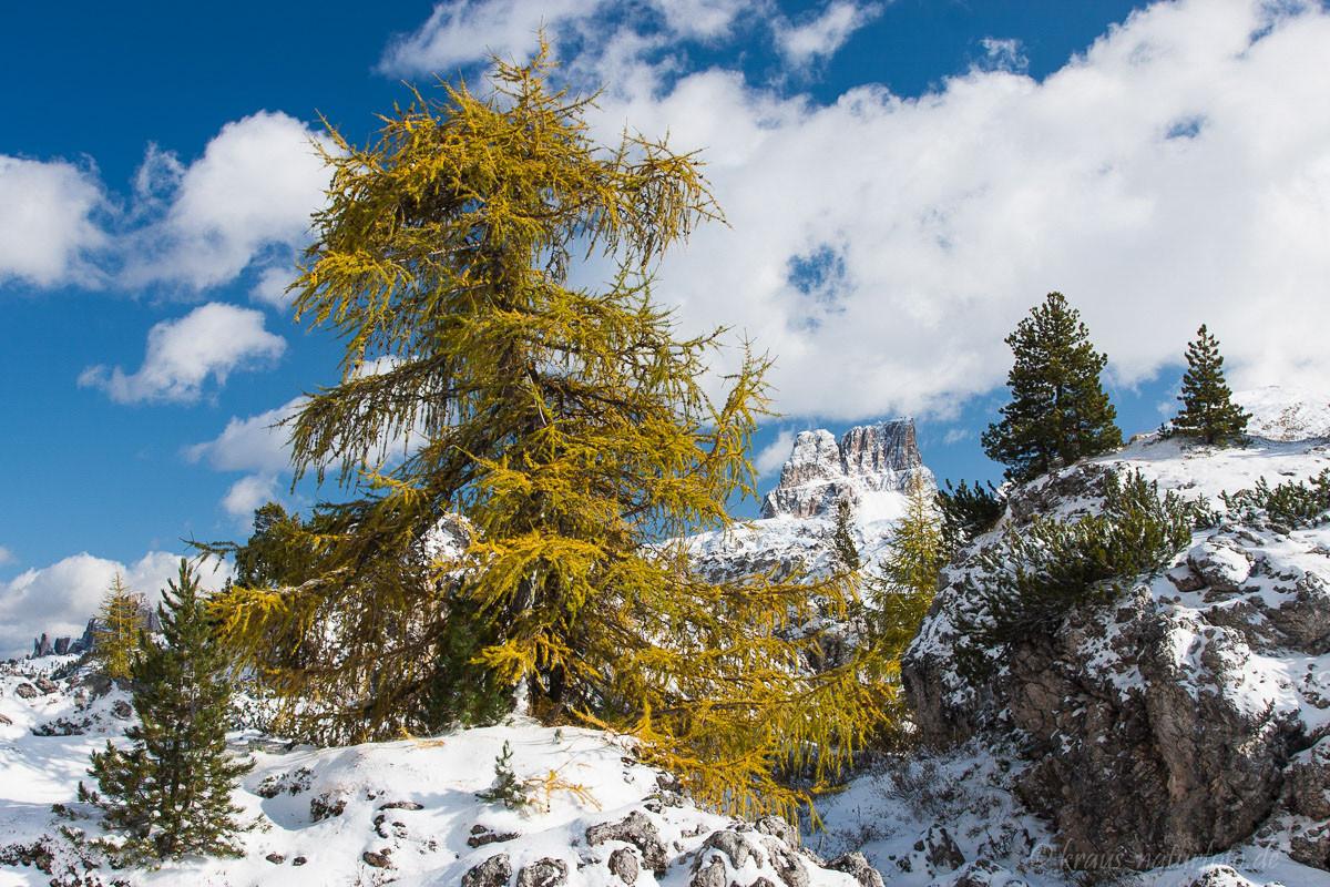 erster Schnee im Oktober (im Hintergrund der Averau)
