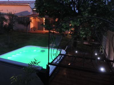 Jacuzzi privatif dans le jardin du Jas du Ventoux
