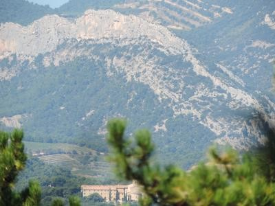 View on Les dentelles de Montmirail on your walking tour from Jas du ventoux
