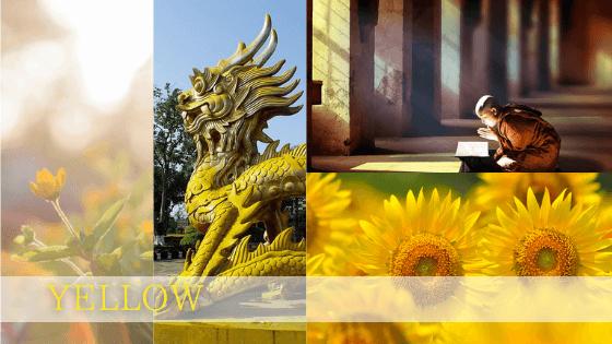 黄色は太陽の色で、仏教では智慧の色であり仏陀の膚の色。黄色い大地は豊かさ・幸せを予感させます