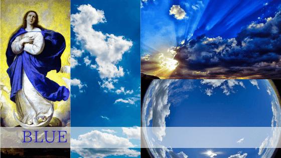 聖母マリアの青は母性を意味します。空は地球を包み込む内向きのエネルギー。神の座の色の青は神聖な色