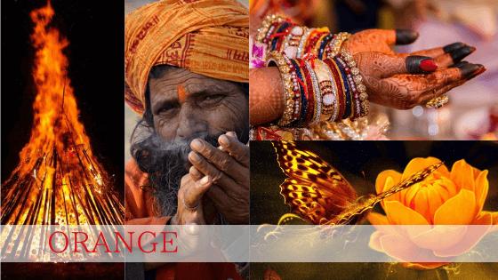 幸運を招く意味を持つヘナオレンジ。ヒンドゥの行者はオレンジの衣を身につけます。オレンジの炎は精神を高揚させるのです