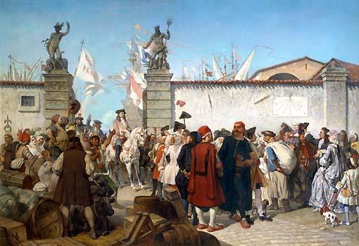 Cesare Dell'Acqua, La proclamazione del Porto franco, 1856  (Museo Revoltella)