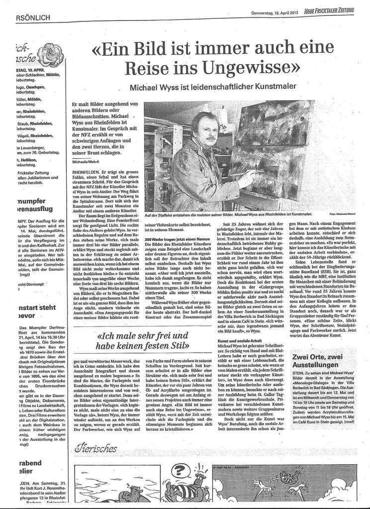 Reportage Fricktaler Zeitung 2013e