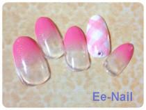 グラデーショ&白×ピンク